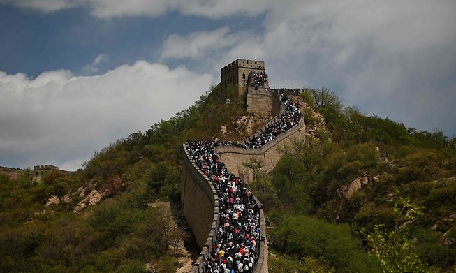 People visit the Great Wall during the labour day holiday in Beijing on May 1, 2021