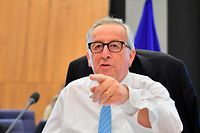 President of EU Commission Jean-Claude Juncker gestures ahead of a College Commissioners meeting at EU headquarters in Brussels on July 18, 2018.  / AFP PHOTO / JOHN THYS