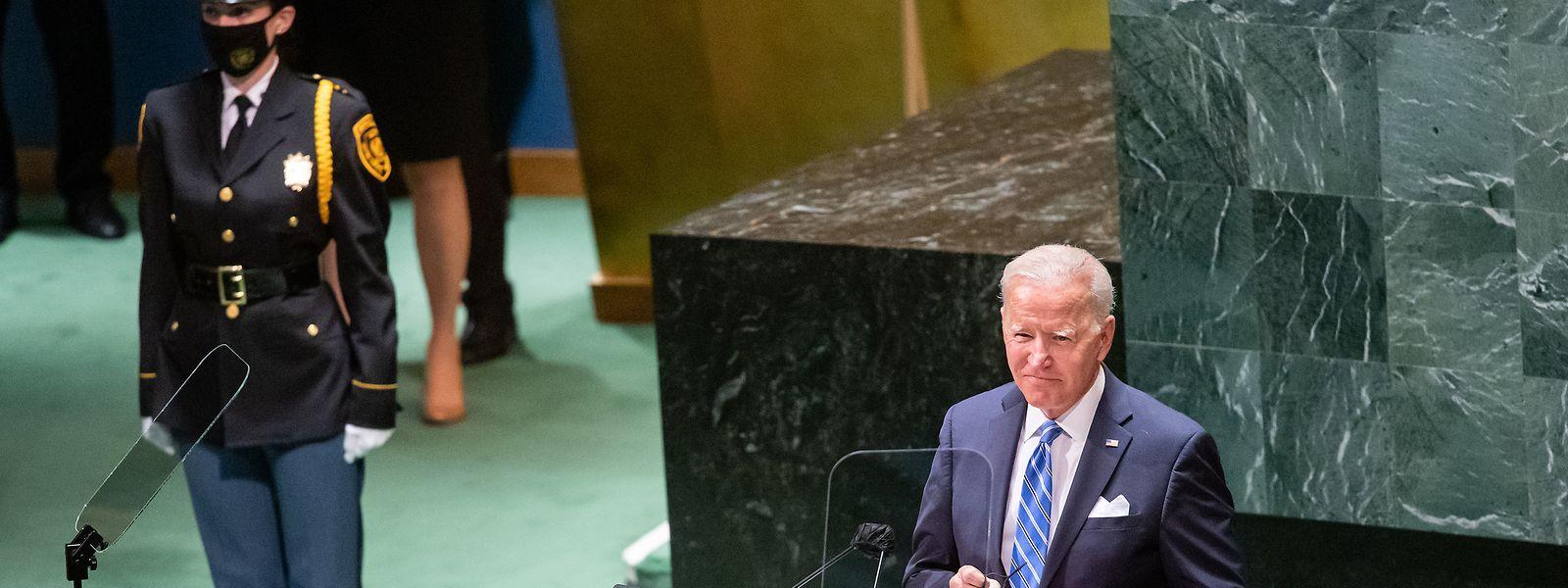 Joe Biden während der 76. Generaldebatte der UN-Vollversammlung im Hauptquartier der Vereinten Nationen in New York.
