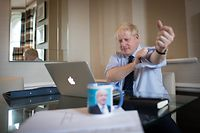 CORRECTION - Britain's Prime Minister Boris Johnson prepares his keynote speech for the annual Conservative Party conference in Manchester, northwest England, on October 1, 2019 which he'll deliver on the final day on October 2. - Britain is on the verge of submitting proposals for a new Brexit deal, Prime Minister Boris Johnson said Tuesday, even as France warned that failure to get a new agreement was the most likely outcome as the deadline loomed. (Photo by Stefan Rousseau / POOL / AFP)