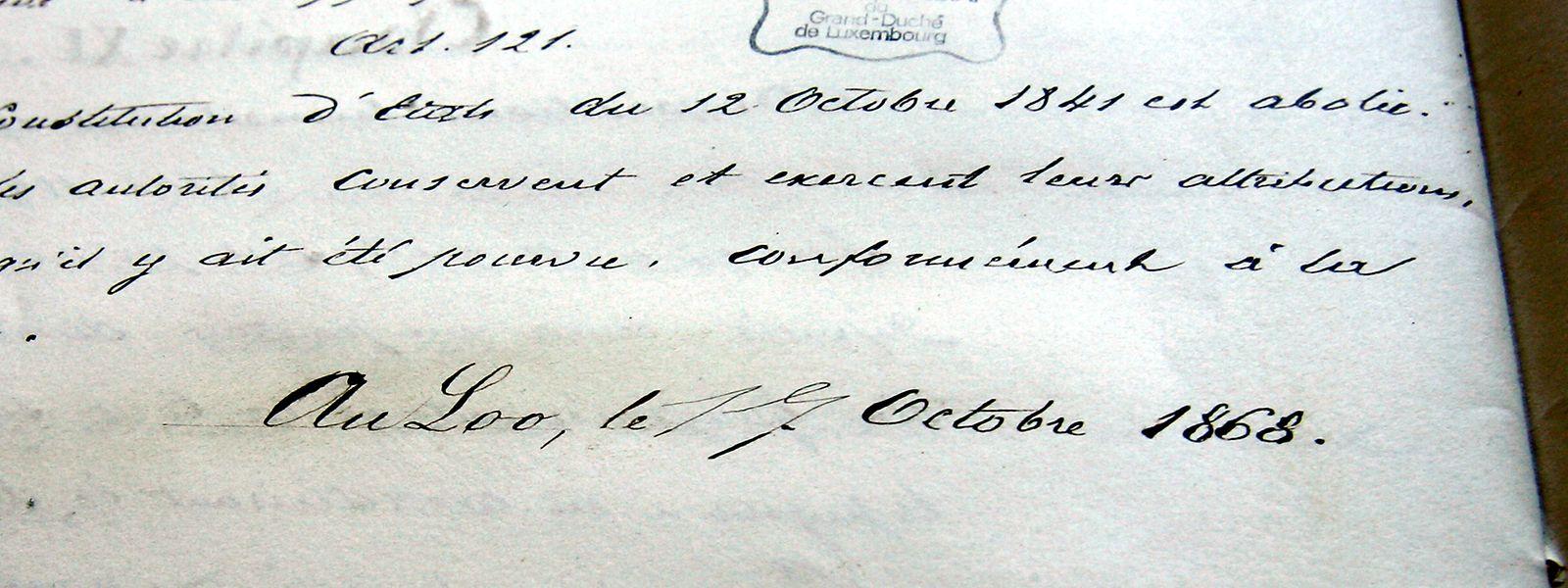 Das Original der luxemburgischen Verfassung aus dem Jahr 1868 liegt im Staatsarchiv.