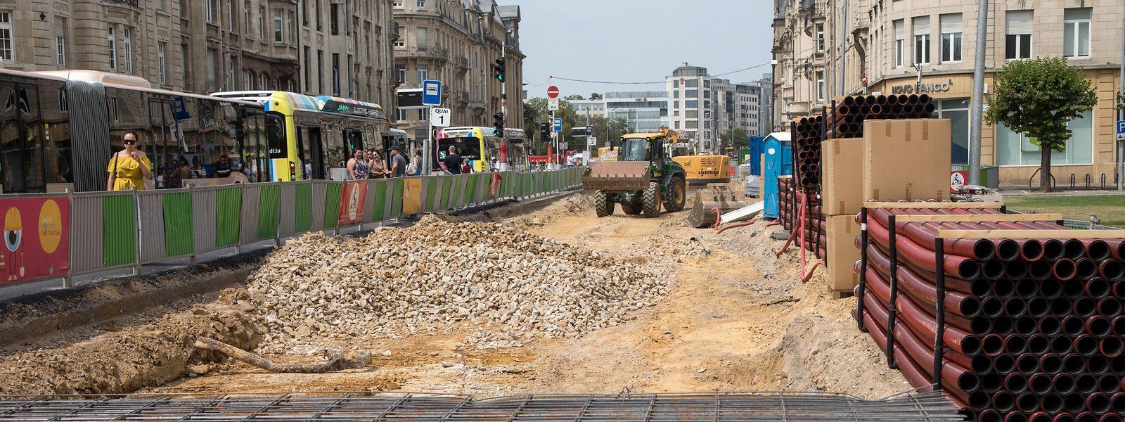 Die Arbeiten von der Place de Metz in Richtung Bahnhof liegen im Zeitrahmen.