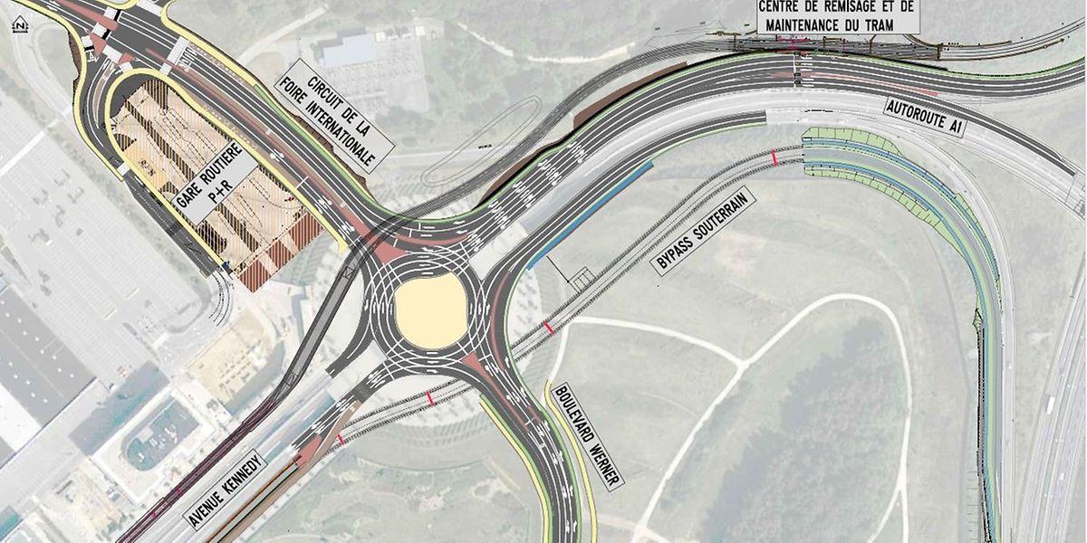 Die Zahl der Fahrspuren im Serra-Kreisel wird von zwei auf drei erhöht. Zusätzliche Bypass-Spuren dienen zur Entlastung.