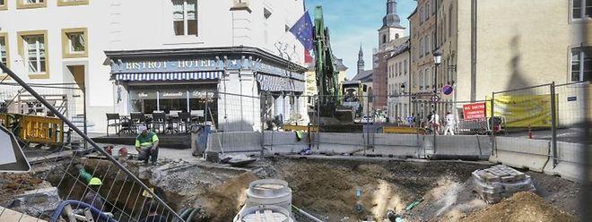 Die Baustelle für Infrastrukturarbeiten in der Rue Sigefroi.