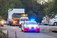WI.Cargolux: Erster Flugsimulator zieht ins neue Hauptgebàude um.Transport vom alten ins neue Cargoluxhauptquartier in Sandweiler.Foto: Gerry Huberty/Luxemburger Wort