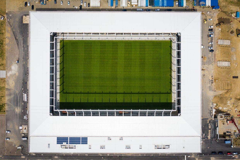 L'avancement des travaux du stade national à la mi-juillet 2020.