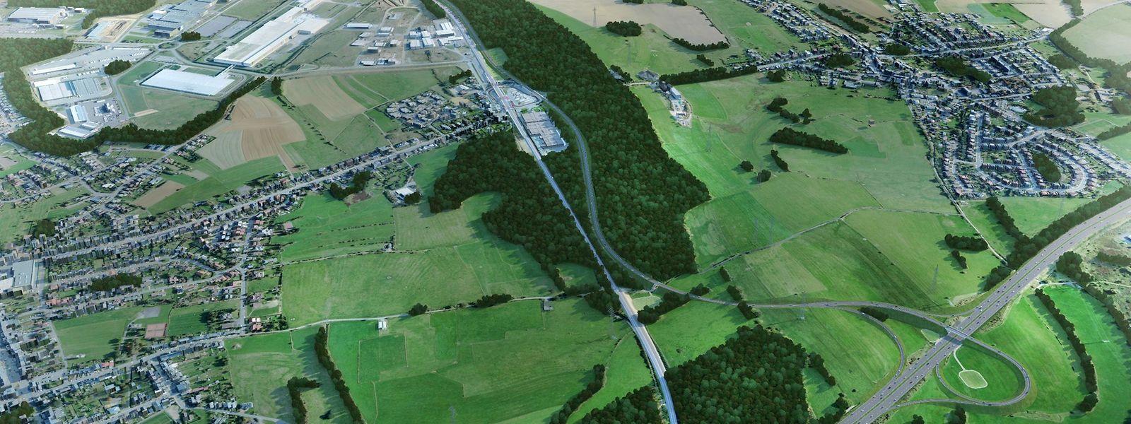 Die neue Umgehungsstraße wird an die A13 angebunden werden (unten rechts auf dem Bild). Sie wird zum Teil aber auch durch den Wald führen.