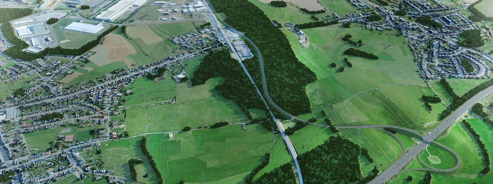 Die neue Umgehungsstraße soll an die A13 (unten rechts auf der Grafik) angebunden werden.