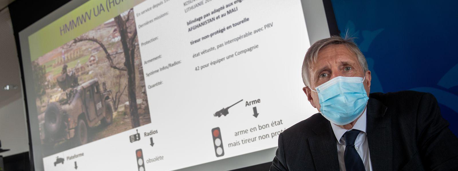 Die aktuell im Einsatz befindlichen Humvees seien veraltet, so Verteidigungsminister François Bausch bei der Präsentation.