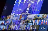 A photograph taken on August 19, 2020 at the EU headquarters in Brussels shows a screen displaying (from top to down R) European Council President Charles Michel, European Parliament President David-Maria Sassoli, EU High Representative for Foreign Affairs and Security Policy Josep Borrell, European Commission President Ursula Von Der Leyen, German Chancellor Angela Merkel, Dutch Prime Minister Mark Rutte, Slovenian Prime Minister Janez Jansa, French President Emmanuel Macron, Czech Republic's Prime Minister Andrej Babis, Sweden's Prime Minister Stefan Lofven, Danish Prime Minister Mette Frederiksen, Belgian Prime Minister Sophie Wilmes, Hungary's Prime Minister Viktor Orban, Poland's Prime Minister Mateusz Morawiecki, Ireland's Prime Minister Micheal Martin, Lithuania's President Gitanas Nauseda, Greek Prime Minister Kyriekos Mitsotekis, Italian Prime Minister Giuseppe Conte, and Latvia's Prime Minister Krisjanis Karins, during the EU emergency video summit on the crisis in Belarus. - EU leaders began an emergency video summit to discuss the crisis in Belarus, as the country's exiled opposition chief urged them to reject President Alexander Lukashenko's disputed re-election. (Photo by Olivier HOSLET / POOL / AFP)