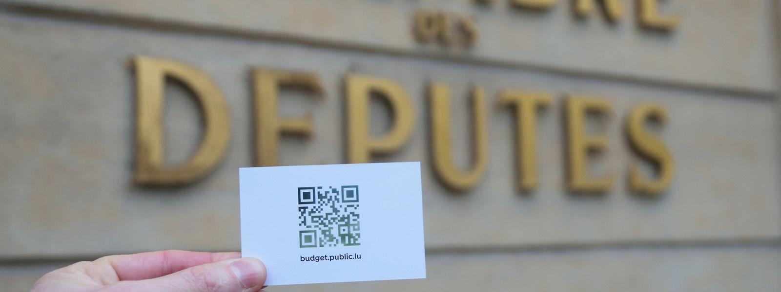 """""""Das Budget 2019 ist eine Visitenkarte unseres Landes"""", so Pierre Gramegna bei der Vorstellung des Haushaltsentwurfes. Dieses Jahr wurde das Dokument in der Form eines QR-Codes vorgestellt."""