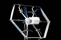 """CORRECTION - In this image released by Amazon, the company unveils its newest drone design for its """"Prime Air"""" fleet at the Machine Learning, Automation, Robotics and Space conference """"re: Mars"""" in Las Vegas on June 5, 2019. - Amazon said Wednesday it expects to begin large-scale deliveries by drone in the coming months. (Photo by JORDAN STEAD / Amazon / AFP) / RESTRICTED TO EDITORIAL USE - MANDATORY CREDIT """"AFP PHOTO / Amazon / JORDAN STEAD"""" - NO MARKETING NO ADVERTISING CAMPAIGNS - DISTRIBUTED AS A SERVICE TO CLIENTS / �The erroneous mention appearing in the metadata of this photo by JORDAN STEAD has been modified in AFP systems in the following manner: [June 5, 2019] instead of [June 5, 2016]. Please immediately remove the erroneous mention from all your online services and delete it from your servers. If you have been authorized by AFP to distribute it to third parties, please ensure that the same actions are carried out by them. Failure to promptly comply with these instructions will entail liability on your part for any continued or post notification usage. Therefore we thank you very much for all your attention and prompt action. We are sorry for the inconvenience this notification may cause and remain at your disposal for any further information you may require.�"""