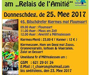 """Kiermes a Floumaart de 25ten Mee 2017 am """"Relais de l'Amitié"""" zu Bilschdref"""