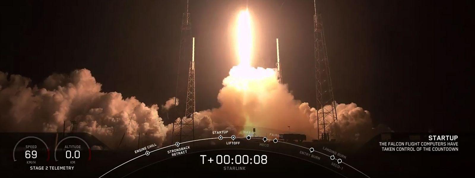 Die Satelliten wurden mit einer Falcon 9 ins All gebracht.