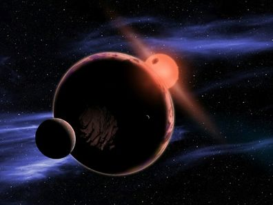 Artists' impression of a planet wiht two moons in orbit in the habitable zone of a red dwarf