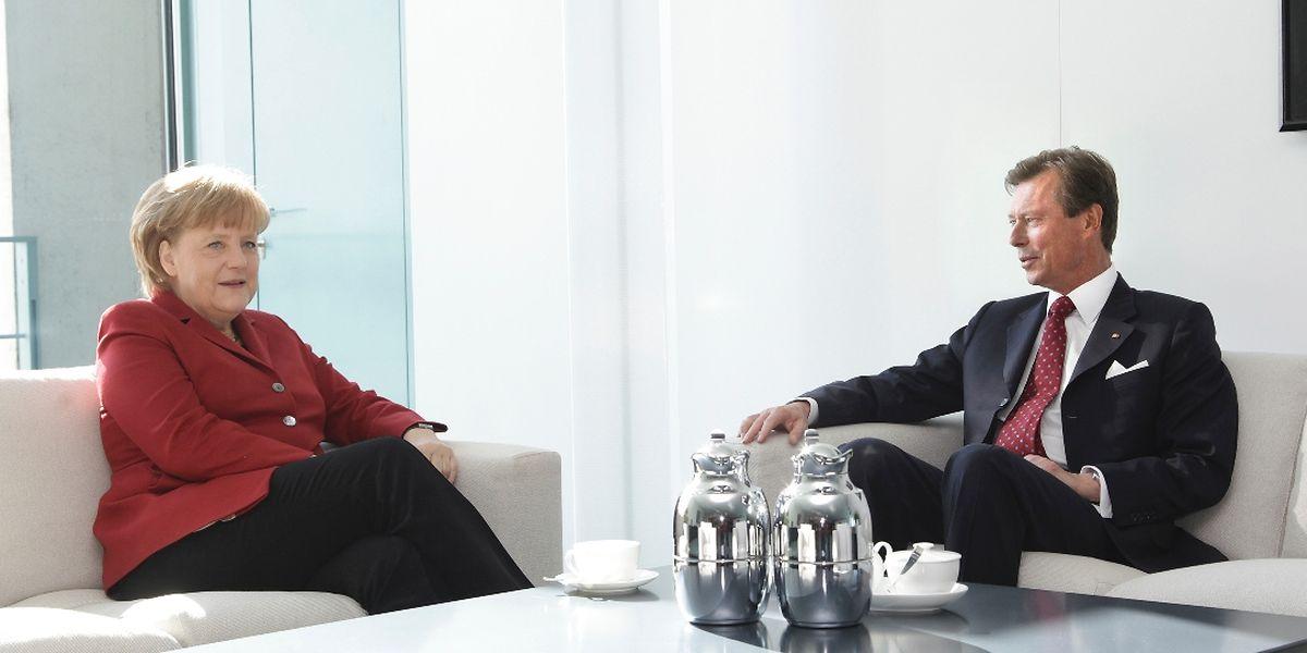 Treffen im Kanzleramt: Großherzog Henri traf am Dienstagmorgen die deutsche Kanzlerin Angela Merkel.
