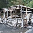Nur noch Schrott: Sechs Linienbusse nach dem Brand.