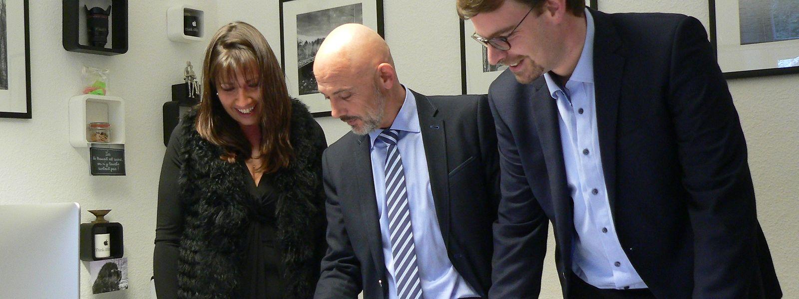 Das LESC-Direktionsteam um Direktor Jean Billa, den beigeordneten Direktor Claude Huss (r.) und die Direktionsassistentin Stéphanie Bracquez (l.).
