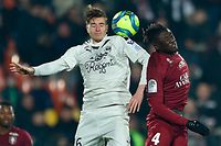 Metz' French midfielder Kevin N'Doram (R) vies with Bordeaux' Croatian midfielder Toma Basic during the French L1 football match between Metz (FC Metz) and Bordeaux (Girondins de Bordeaux) at Saint Symphorien stadium in Longeville-l�s-Metz, eastern France, on February 08, 2020. (Photo by JEAN-CHRISTOPHE VERHAEGEN / AFP)