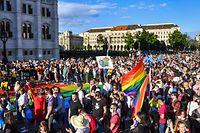 Manifestação em Budapeste contra a aprovação desta lei.
