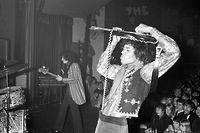 (GERMANY OUT)   Hendrix, Jimi *27.11.1942-18.09.1970+ Gitarrist, Rockmusiker, USA  - waehrend eines Konzertes in Hamburg  - 17.03.1967   (Photo by Peter Timm\ullstein bild via Getty Images)