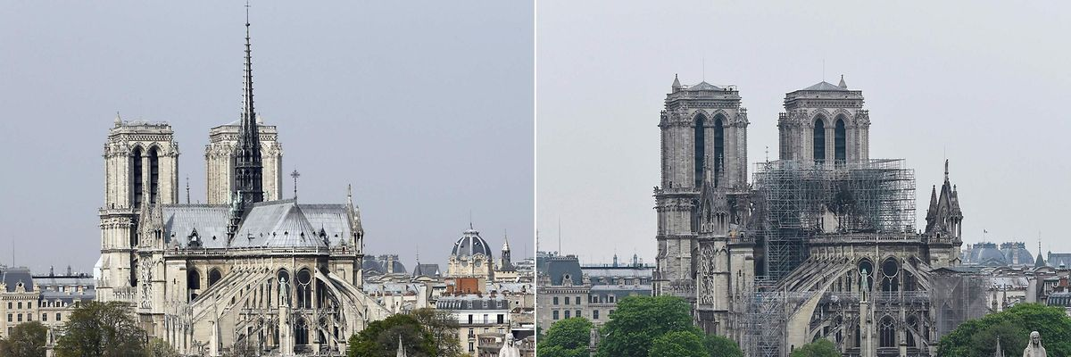 Comparaison d'une photo de Notre-Dame de Paris prise le 28 mars 2014 et une autre faite le 16 avril 2019.