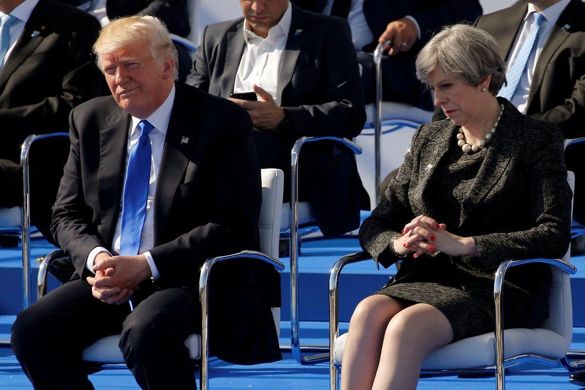 """Nicht viel zu sagen, hatten sichtlich Teresa May und Donald Trump. Es kriselt in den """"Special Relations"""" zwischen den USA und dem Vereinigten Königreich."""