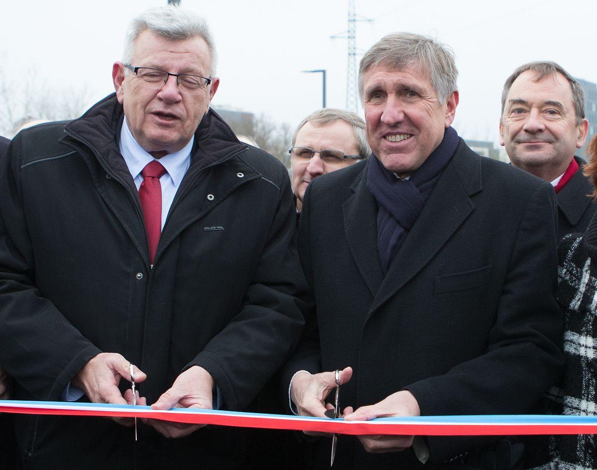 Christian Eckert et François Bausch inaugurent, le 16 décembre 2016, la liaison Micheville - Belval