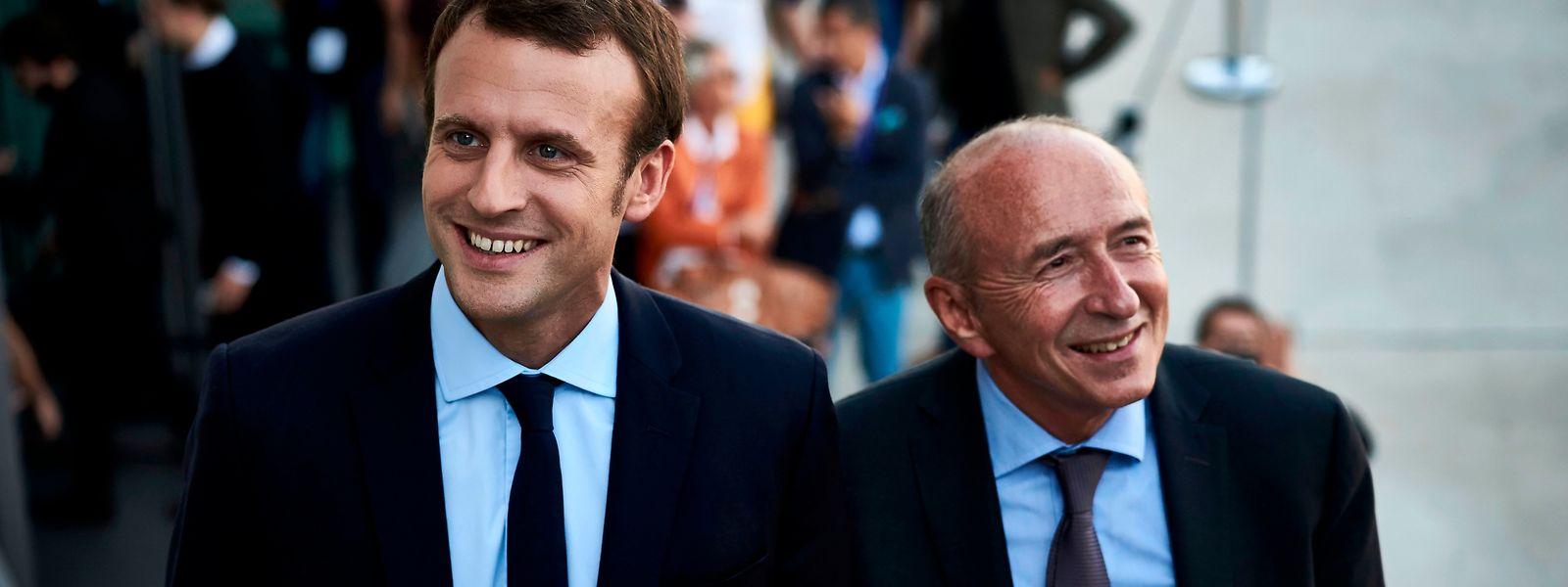 Emmanuel Macron (l.) und Gérard Collomb im Jahr 2016. Collomb war damals Bürgermeister von Lyon.