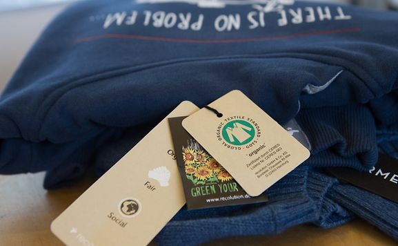Shown here on a sweatshirt: the Global Organic Textile Standard (GOTS) label, which is the most internationally recognised standard for ensuring fabrics are organic.