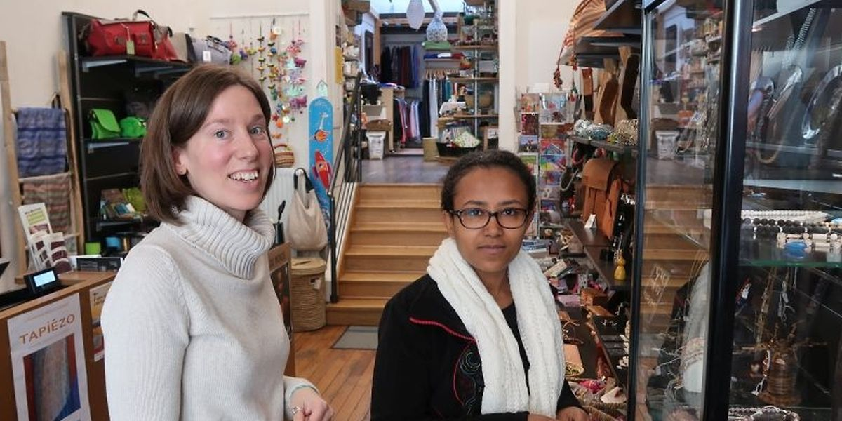 """Christine Fandel und Dereje Fikirte sind beide seit mehreren Jahren bei den Escher """"Weltbutteker"""" im Einsatz."""