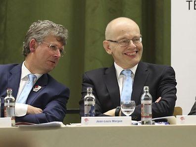 Jean-Louis Margue (r.) verabschiedet sich nach 40 Jahren aus dem Verwaltungsrat des COSL.