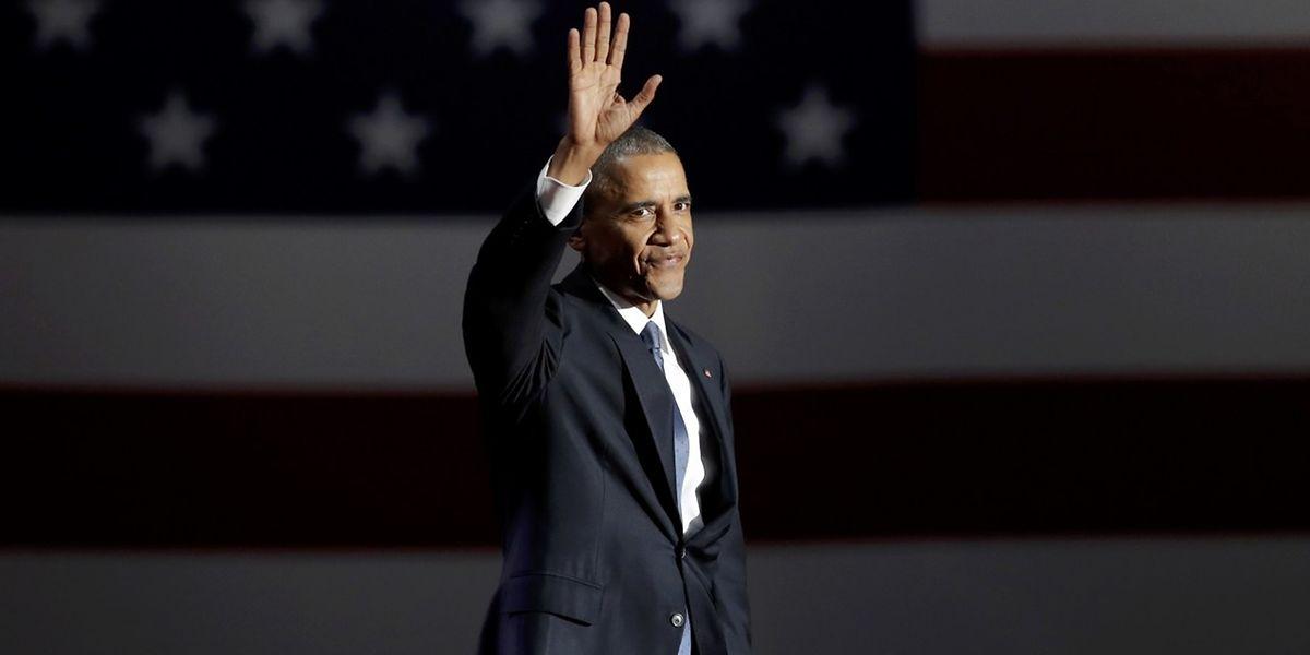 Barack Obama lors de ses adieux à l'issue de deux mandats présidentiels.
