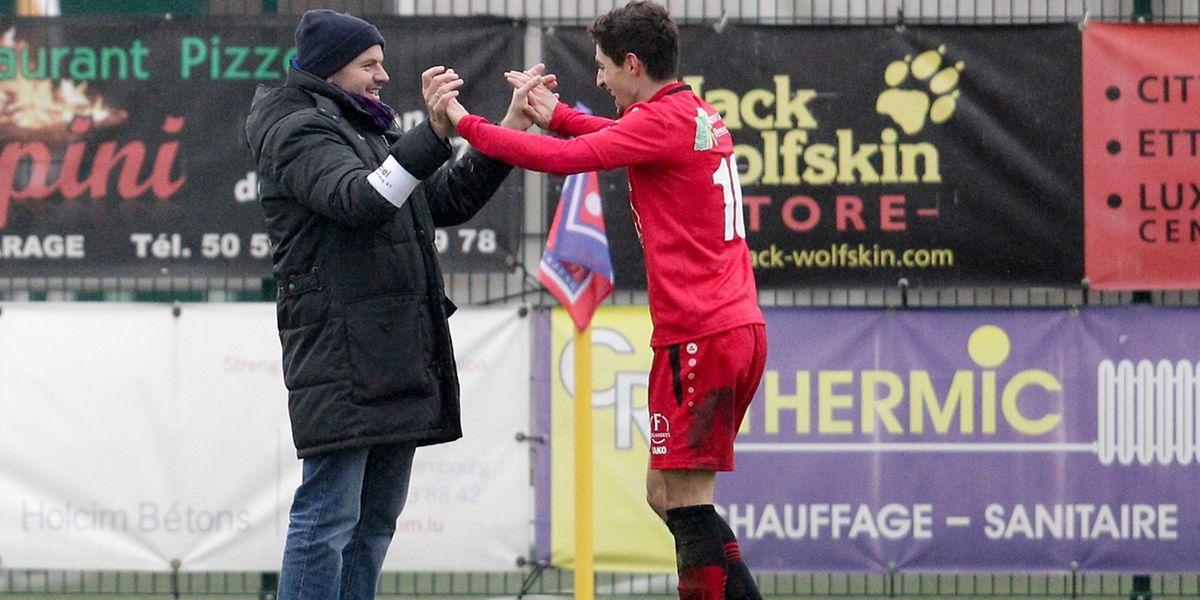 Siffedine Khemici et son président Emile Muller jubilent. L'UNK a pris la mesure de Differdange 3-2.
