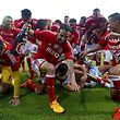 Benfica players celebrate after their Portuguese First League soccer match against Guimaraes, held at D.Afonso Henriques stadium, Guimaraes, Portugal, 17th May 2015. Benfica clinch their 34th national championship soccer title with one game to spare after a draw with Guimaraes 0-0. JOSE COELHO/LUSA