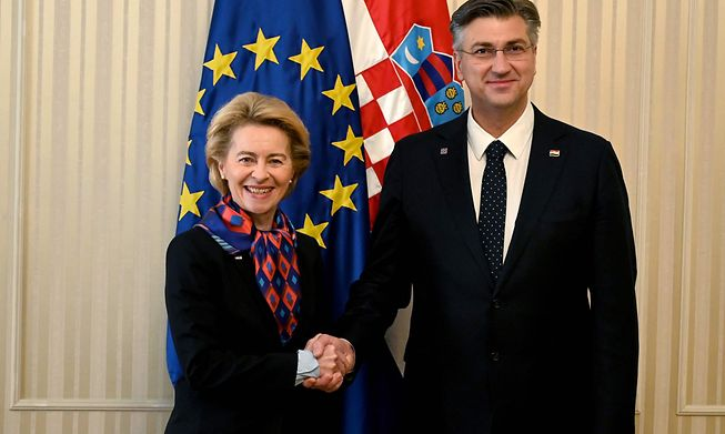 EU Commission President Ursula von der Leyen and Croatian PM Andrej Plenković