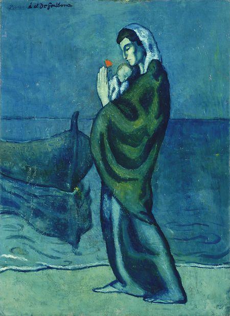 """Das Gemälde """"Mutter und Kind am Strand"""" (1902) von Pablo Picasso."""