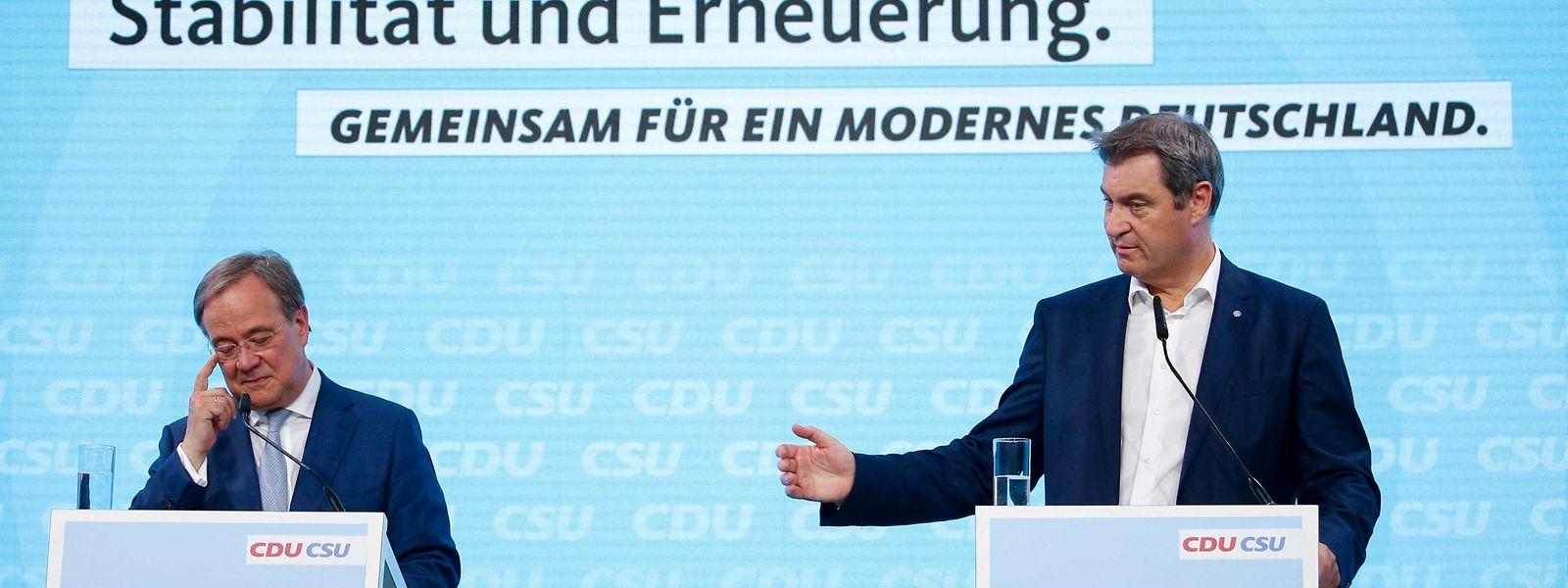 CDU-Chef Armin Laschet (links) und sein CSU-Kollege Markus Söder haben das gemeinsame Wahlprogramm vorgestellt.