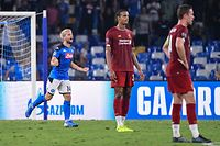 Napoli's Belgian forward Dries Mertens (L) celebrates after scoring a penalty during the UEFA Champions League Group E football match Napoli vs Liverpool on September 17, 2019 at the San Paolo stadium in Naples. (Photo by Alberto PIZZOLI / AFP)