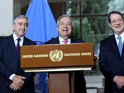 UN Secretary-General Antonio Guterres (C) speaks next to Greek Cypriot President Nicos Anastasiades (R) and Turkish Cypriot leader Mustafa Akinci during a press conference after the Conference on Cyprus, on the sidelines of the Cyprus Peace Talks, at the European headquarters of the United Nations in Geneva, Switzerland, January 12, 2017. REUTERS/Laurent Gillieron/Pool