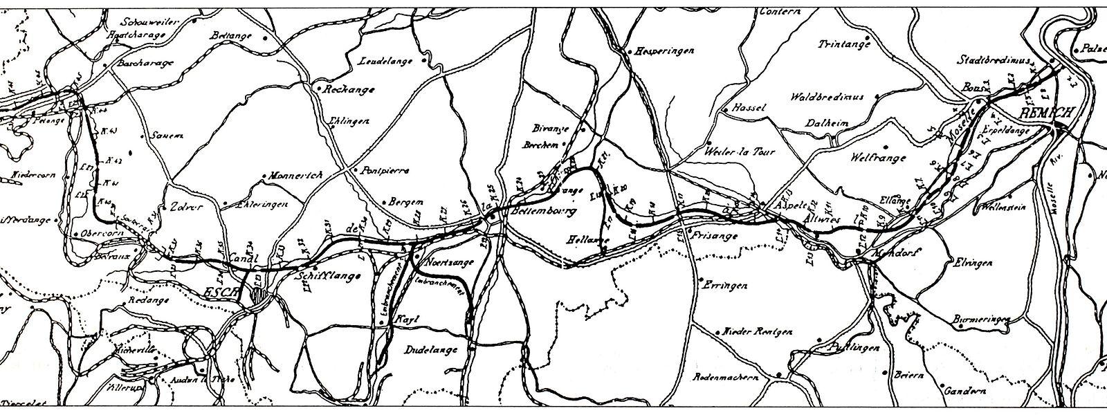 Der angedachte Verlauf des Kanals zwischen Rodange und Stadtbredimus.