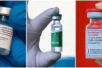 Die Impfstoffe von Biontech/Pfizer, AstraZeneca und Moderna (v.l.) haben Unterschiede, aber auch Gemeinsamkeiten.
