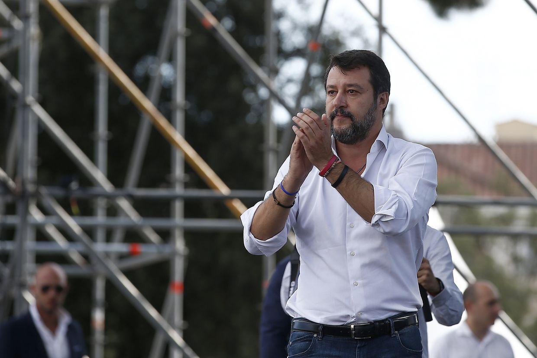 Matteo Salvini, Chef der rechten Lega und ehemaliger Innenminister von Italien,sprach auf einer Großkundgebung.