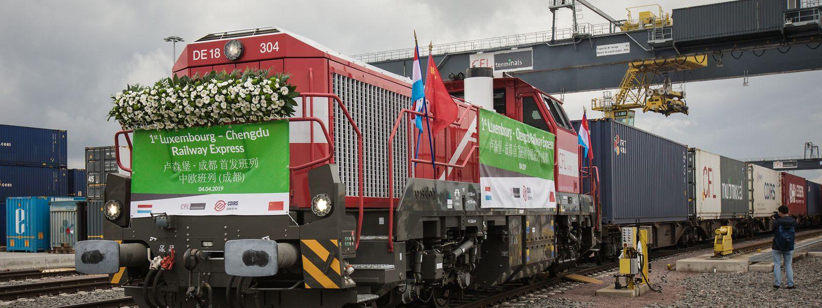 Auf nach China: Der erste direkte Zug zwischen Luxemburg und dem Reich der Mitte ist mit Waren von 15 verschiedenen Kunden geladen.