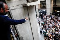 French Prime Minister and candidate for Le Havre city hall Edouard Philippe greets his supporters after winning the second round of the mayoral elections of the city of Le Havre on June 28, 2020, amid the Covid-19 pandemic caused by the novel coronavirus. (Photo by Sameer Al-DOUMY / AFP)
