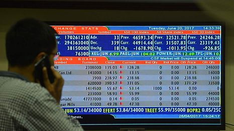 A Pakistani stockbroker looks at the latest share prices on a monitor during a trading session at the Pakistan Stock Exchange (PSX) in Karachi on June 20, 2017. The benchmark PSX-100 index closed at 44914.44, down 1678.90 points at the end of the day. / AFP PHOTO / RIZWAN TABASSUM
