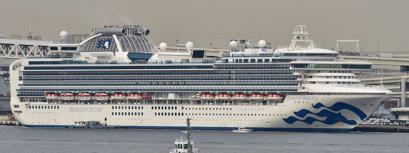 """Die """"Diamond Princess"""" liegt im Hafen von Yokohama in Japan."""