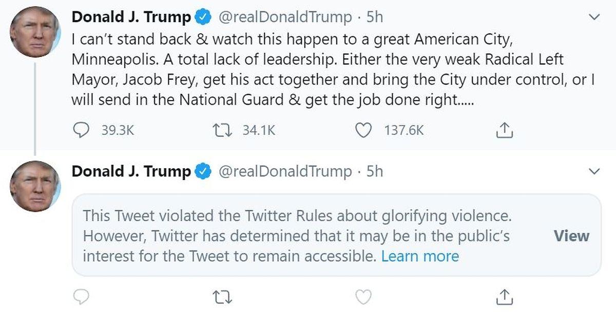 Twitter markierte den Tweet des US-Präsidenten mit einer Gewalt-Warnung.