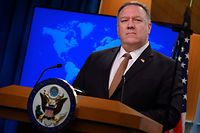 (FILES) In this file photo taken on March 25, 2020 US Secretary of State Mike Pompeo speaks during a press conference at the State Department in Washington, DC. - US Secretary of State Mike Pompeo said January 11, 2021 he was placing Cuba back on a blacklist of state sponsors of terrorism, a last-minute roadblock to efforts by President-elect Joe Biden's to ease tensions. (Photo by ANDREW CABALLERO-REYNOLDS / AFP)