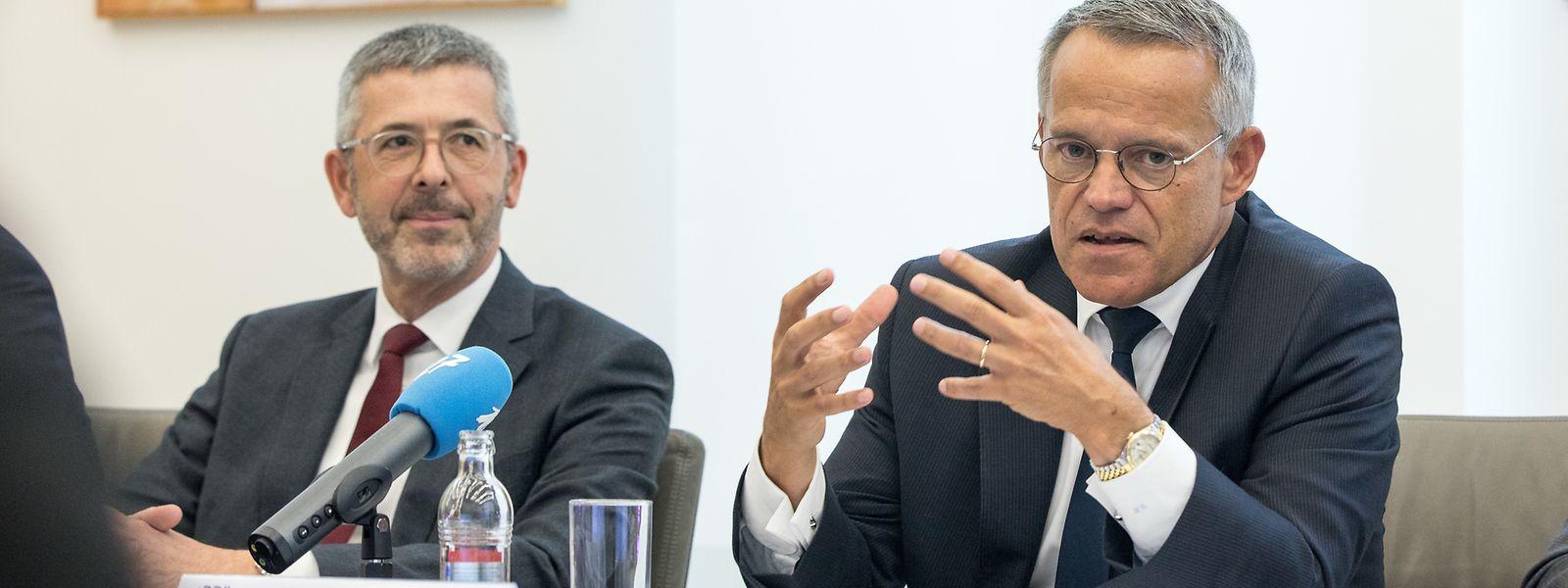 Führungsduo: CEO Serge de Cillia und Präsident Guy Hoffmann bei der Vorstellung des Banken-Geschäftsjahres 2018.